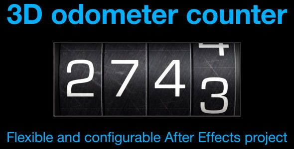 "Odometer number counter by CinnamonVisualFX This After Effects project generates an ""odometer"" style number counter.The odometer is easily adjusted to show between 3 and 6 di"