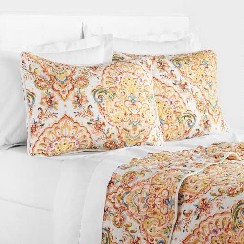 One of my favorite discoveries at WorldMarket.com: Yellow Damask Bianca Bedding Collection