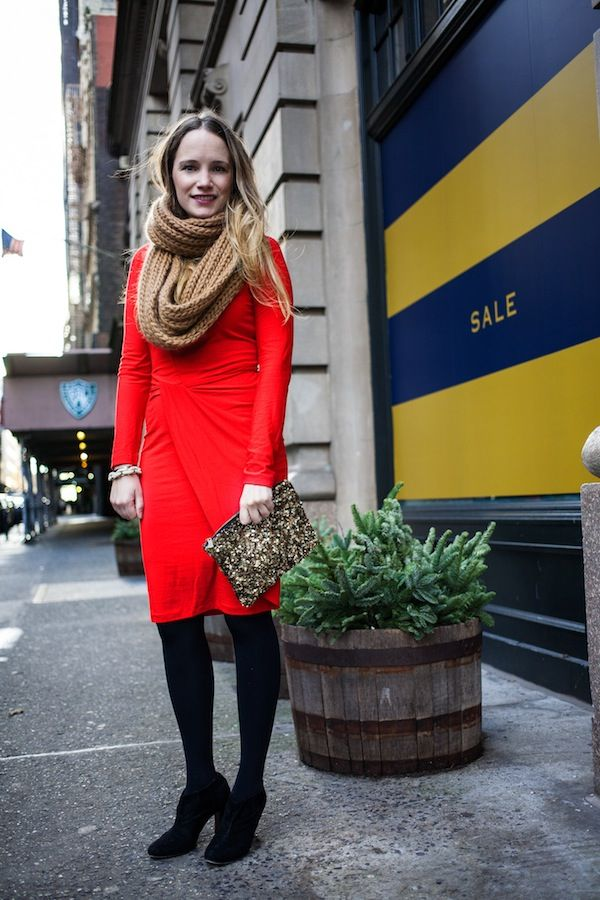 @Grace / Stripes & Sequins looks just right for Valentine's day in her red dress and @Sam Edelman Salina boots.