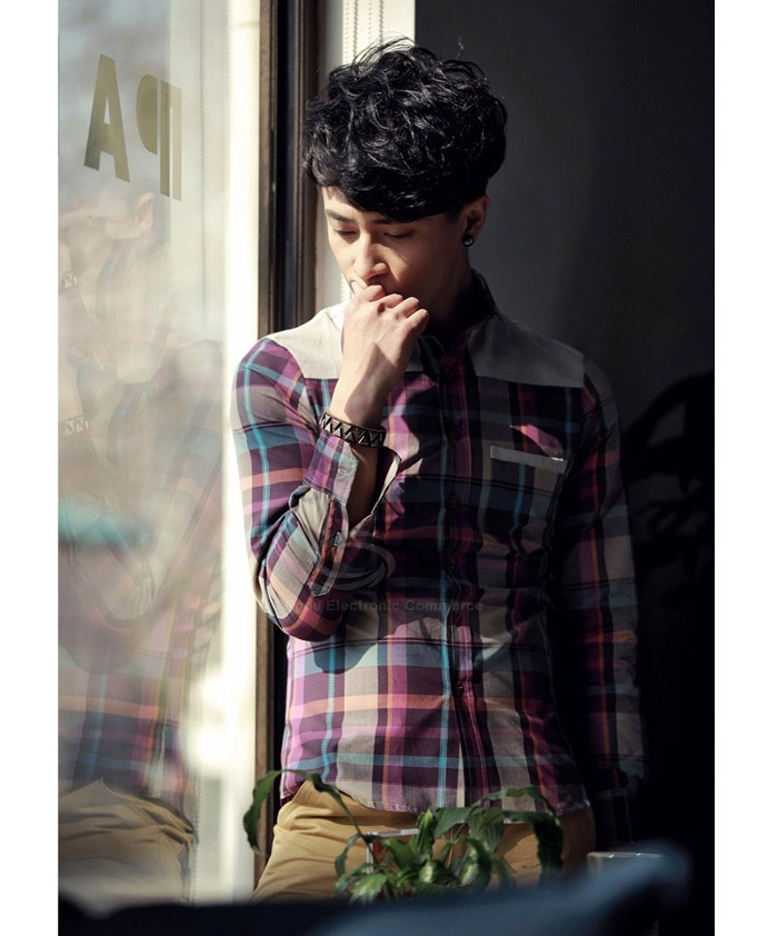 Casual Shirt Collar White Shoulder Splicing Tartan Polyester Mens Spring Shirt