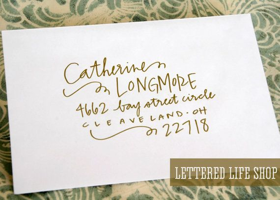 wedding calligraphy envelope addressing gold by letteredlifeshop 200