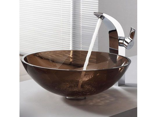 Glass Vessel Sink And Faucet Combinations Clear Brown Glass Vessel Sink And  Illusio Faucet Chrome