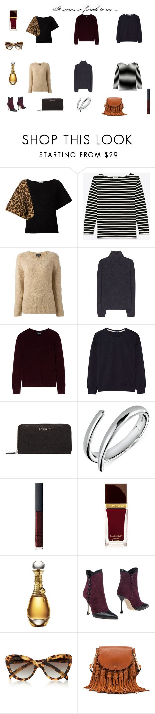 """""""It seems so french to me ...."""" by mousouza on Polyvore featuring Yves Saint Laurent, A.P.C., Petit Bateau, Givenchy, Calvin Klein, NARS Cosmetics, Tom Ford, Christian Dior, Manolo Blahnik and Prada"""