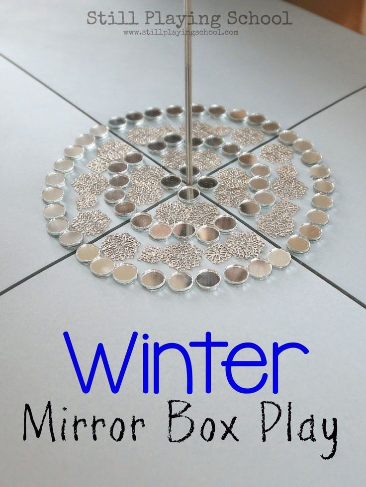 Winter Mirror Box Play with Loose Parts from Still Playing School