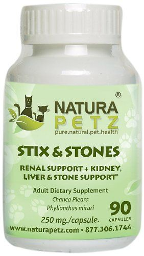 Natura Petz Stix and Stones Renal Kidney Liver and Stone Support for Pets 90 Capsules 350mg Per Capsule *** More info could be found at the image url.