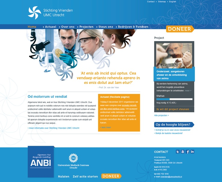 Website voor Stichting Vrienden UMC Utrecht