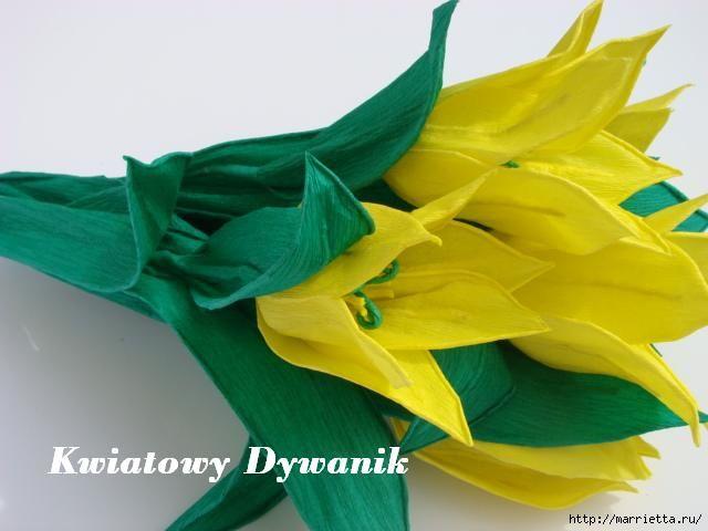 Tulipanes amarillos de papel crepé.  Clase de fotos (5) (640x480, 106Kb)