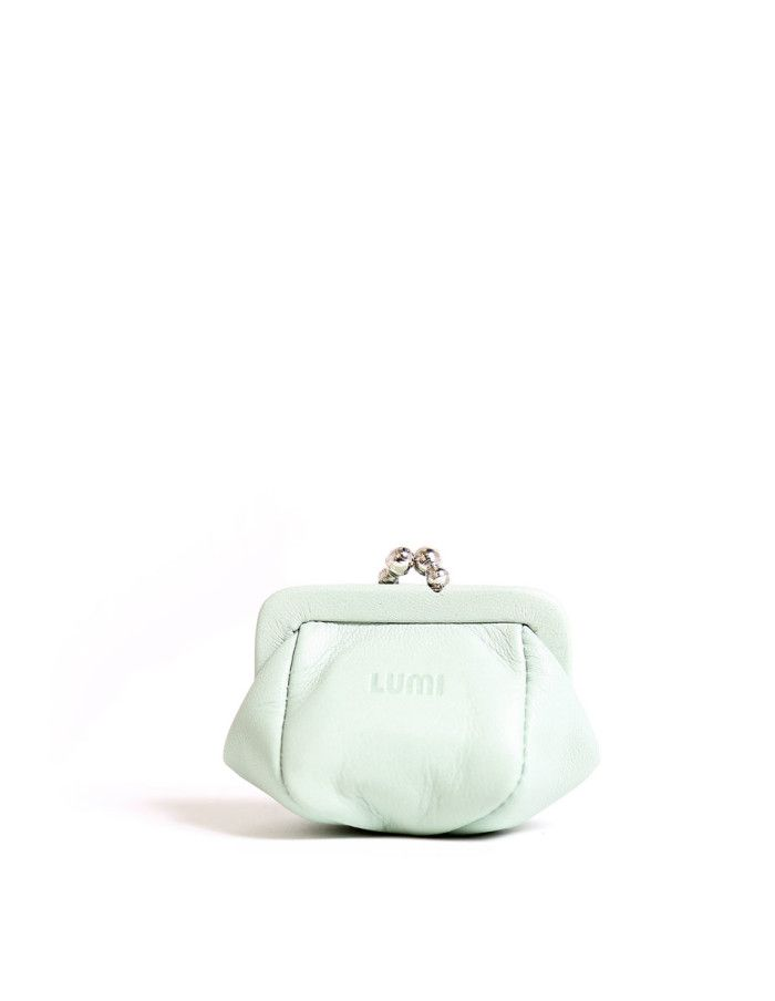 LUMI Aurora Jewellery Purse, in mint, is made of soft sheep napa leather. Handmade in Spain.