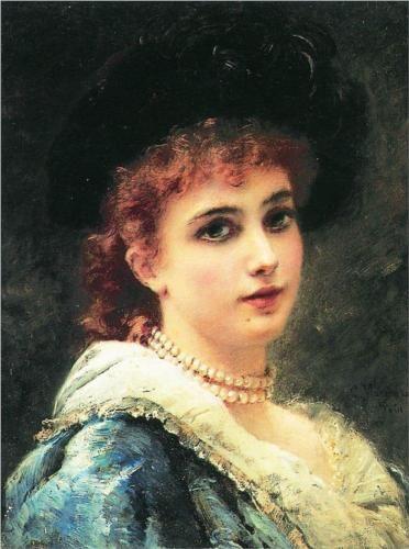 Parisienne in pearl necklace - Konstantin Makovsky, c.1890, 191/366.