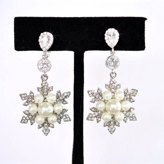 Handmade Clip-On CZ & Crystal and Pearl Snowflake Dangle