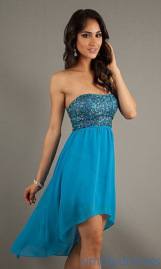 High Low Strapless Prom Dress by Hailey Logan  at SimplyDresses.com