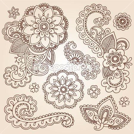 henna mehndi doodles elementos abstractos diseño floral paisley — Vector stock © blue67 #13916423