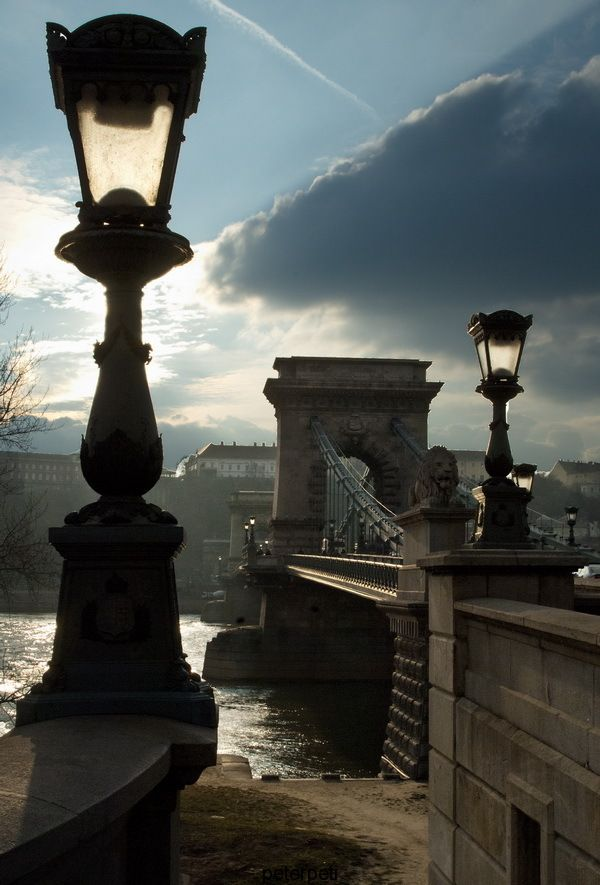 The beautiful Chain Bridge in Budapest, Hungary
