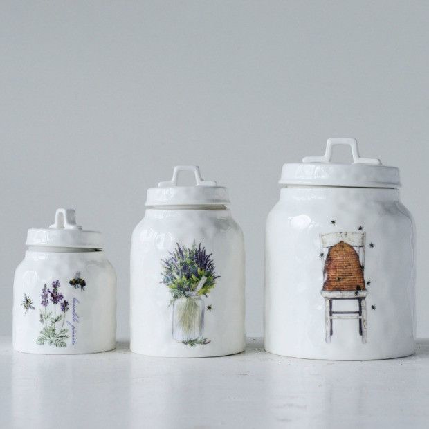 Lavender and Bees Stoneware Kitchen Canister | Lavender ...
