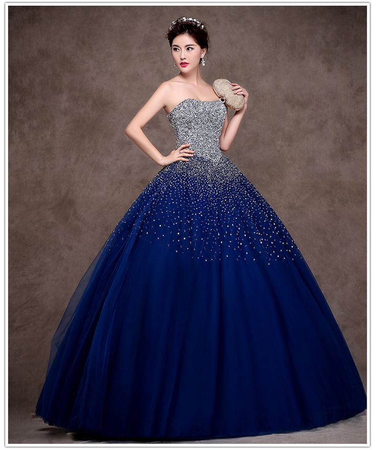 Cheap dresse, Buy Quality dresses 50s directly from China dress fur Suppliers: Latest Design Navy Blue Quinceanera Dress 2015 Sweetheart Masquerade Ball Gown Crystal Organza Vestidos De 15 Annos ZBQ1