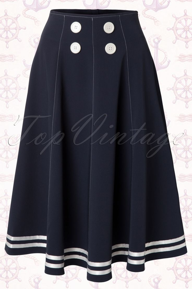 """Go retro with this darling high waisted fifties navy style 50s Mollys Sailor Skirt Ahoy Navy""""Thrills"""" skirt. A very versatile fifties inspired swing skirt with cute retro navy details like the white satin stripes, the contrast stitching and thedouble breasted white buttons at the front.Made from a dark blue fabric with a light stretch and a lovely drape. Fitted in the waist and with flattering flat seams as they don't make your hips look fuller. The full skirt is perfect fo..."""