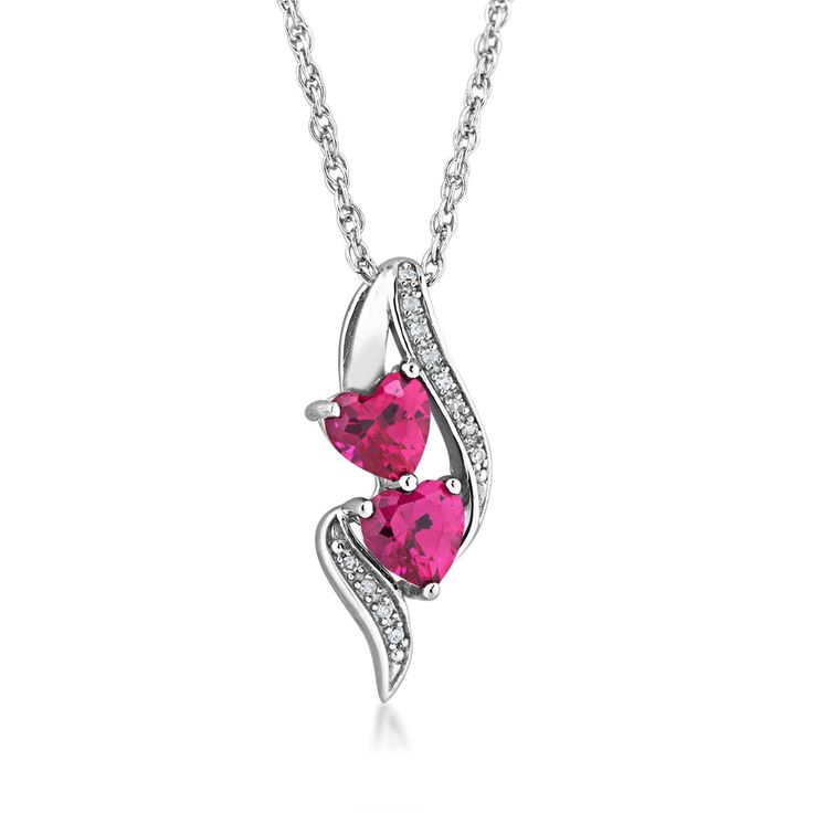 Product Name : Created Ruby and Diamond Necklace in Sterling Silver - FN30328DIA-CRU-SS  Price : $ 79.00