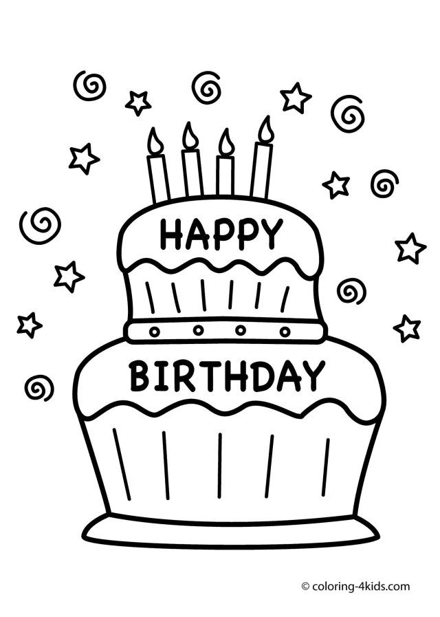 32 Awesome Image Of Birthday Cake Drawing Birthday Coloring