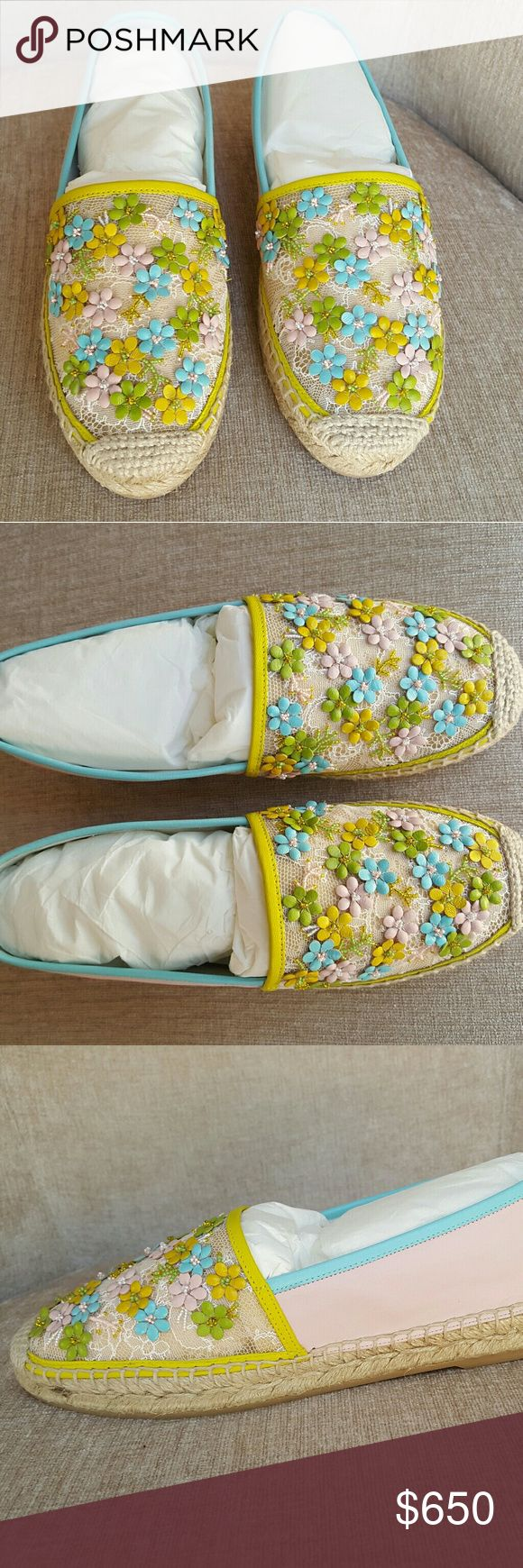 Rene Caovilla Floral Espadrilles Beautiful floral yellow green Espadrilles.  Very interesting and chic shoes that stand out Rene Caovilla Shoes Espadrilles
