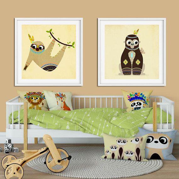 Monkey Print Animal Nursery Art African Jungle Animal Kids