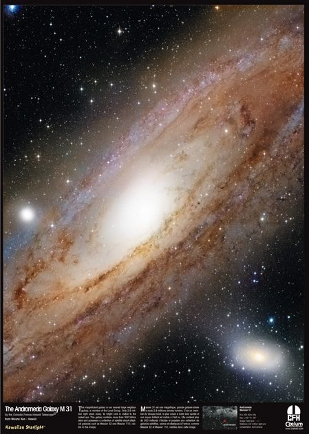 "M31 Galassia di Andromeda - Messier 31 Spiral galaxy  [R.A. 00h 42m 44s Dec. +40° 51' 30""] Image field size: 65'x86'. Dist.: 2.5 million light-yrs. Constellation: Andromeda.  Photo by CFHT Telescope from Mauna Kea. Credit  Copyright: Jean-Charles Cuillandre (CFHT)  Giovanni Anselmi (Coelum Astronomia), Hawaiian Starlight."