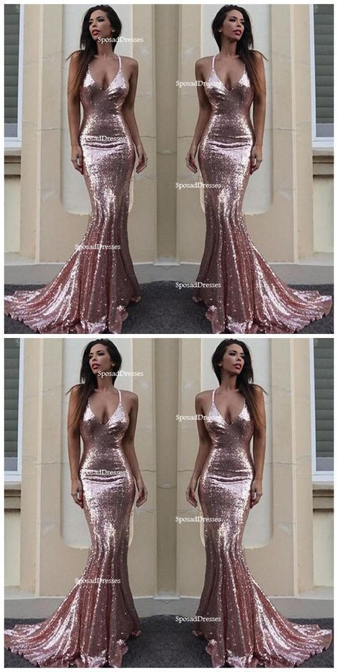 Sexy Backless Rose Gold Sequin Mermaid Evening Prom Dresses 222a08275fd5