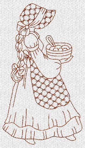 Country Baking Sunbonnet Sue Ladies Redwork Machine Embroidery Designs CD | eBay Más