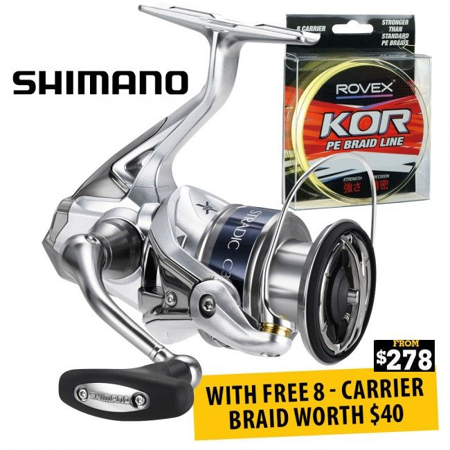 Buy #Shimano Stradic FK Spinning Fishing #Reels With FREE Braid offered on Christmas Sale at Dinga Fishing Tackle Store in Australia!
