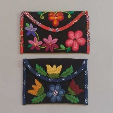 Fabric pouch w/ traditional Swedish wool embroidery.