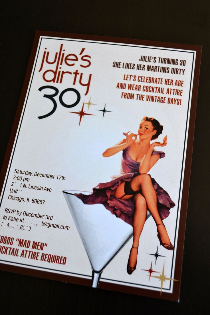 Dirty 30 Birthday Party Invitation. $15.00, via Etsy.
