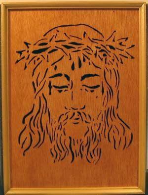 Scroll saw fretwork portrait of Jesus
