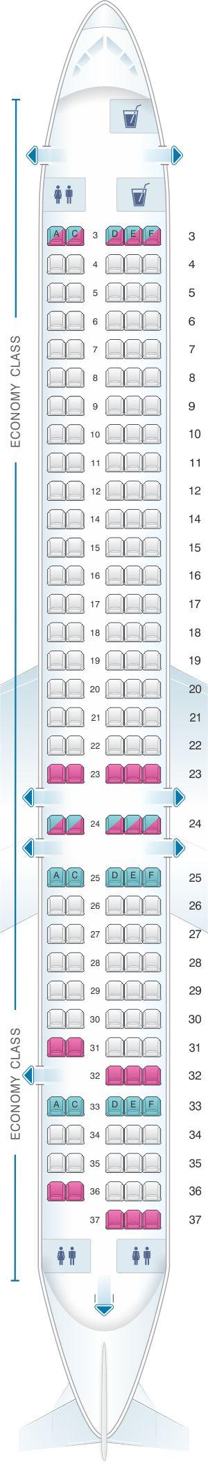 Seat Map Allegiant Air McDonnell Douglas MD 80