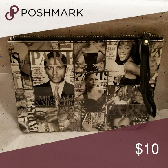 purse Newspaper black and white clutch Bags Clutches & Wristlets