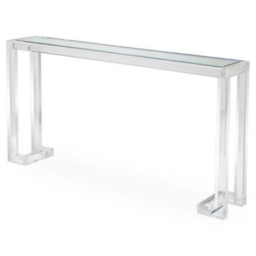 acrylic console table with inset glass top