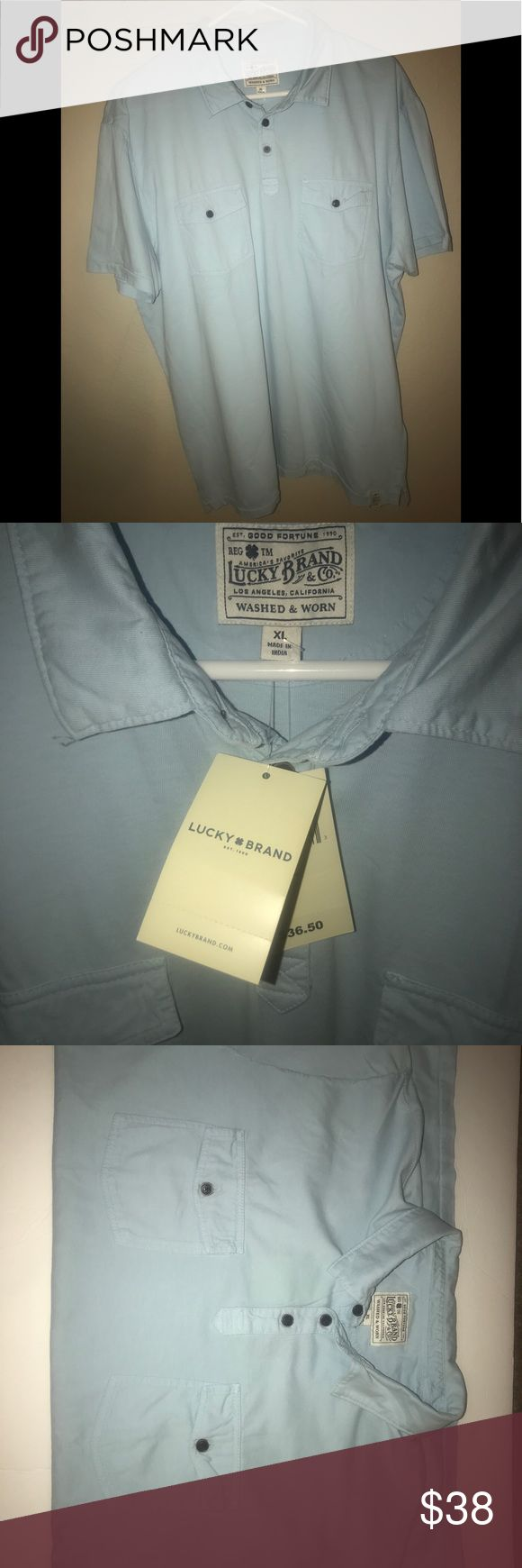 Men's short sleeve 3 button Lucky Brand Polo Shirt Men's light Blue Polo Lucky Brand Shirt. 2 front button pockets and 3 buttons at the collar. Great to wear for any occasion with shorts or jeans. Lucky Brand Shirts Polos