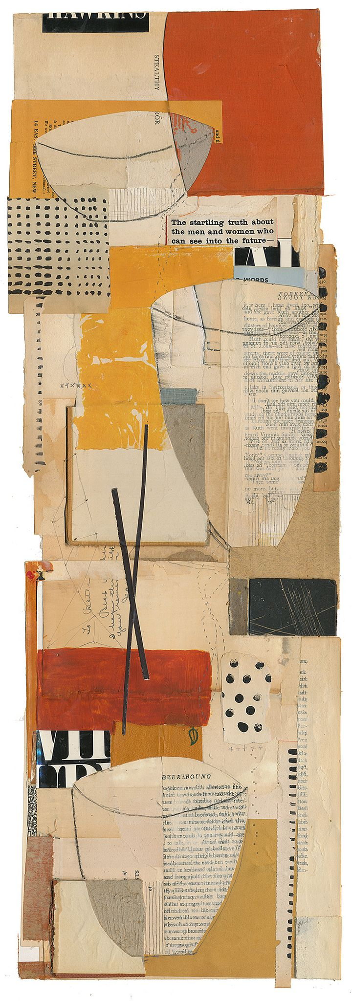 "Melinda Tidwell - ""150120: Vessels 11"", 28H x 10W"", book collage on paper"