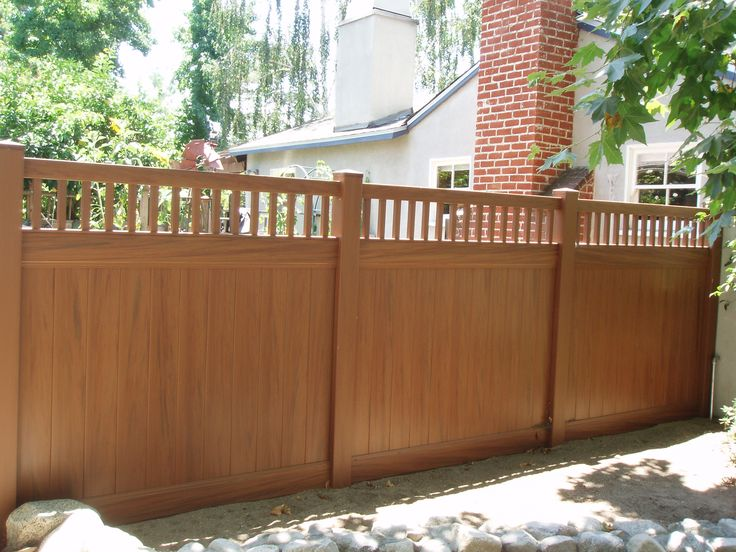 Walnut Color Privacy with Picket fence