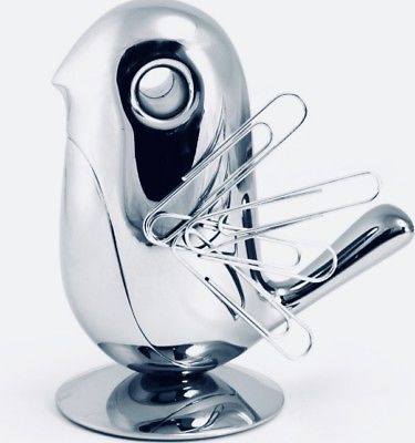 So cute!  Alessi-034-Chip-034-Little-Bird-Magnetic-Paper-Clip-Holder-Chrome-Plated-BNIB-RRP-36