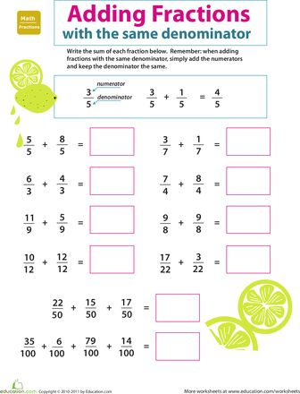 Worksheets: Introduction to Fractions: Adding Fractions 3rd grade