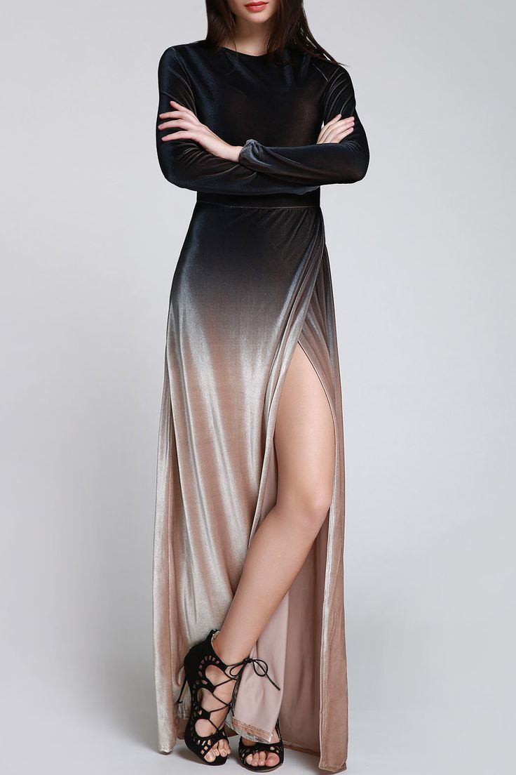 Side Slit Long Sleeves Gradient Color Dress