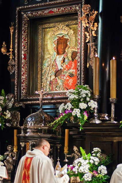 This is an image of the Black Madonna, a revered icon of the Virgin Mary housed at the Jasna Góra Monastery in Częstochowa, Poland.