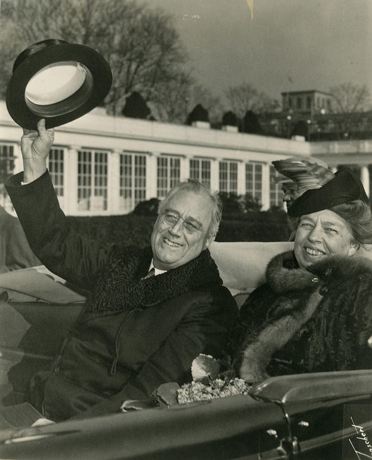 """Franklin and Eleanor Roosevelt riding in an open car, returning to the White House from FDR's third inauguration."" Image courtesy of FDR Library"