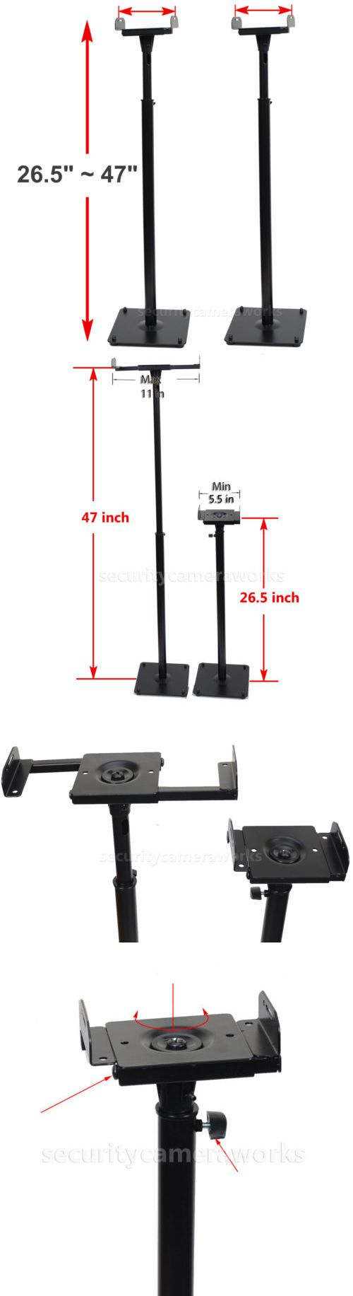 Speaker Mounts and Stands: 2 Surround Sound Bookshelf Floor Speaker Stands Side Clamp Heavy Duty Mounts Bjr -> BUY IT NOW ONLY: $48.7 on eBay!