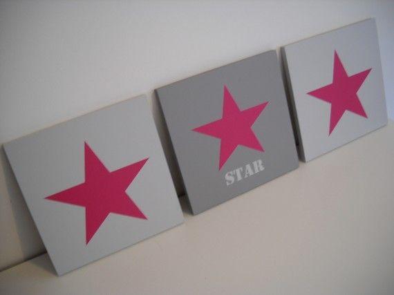 Triptyque Gris et Rose Fushia STAR