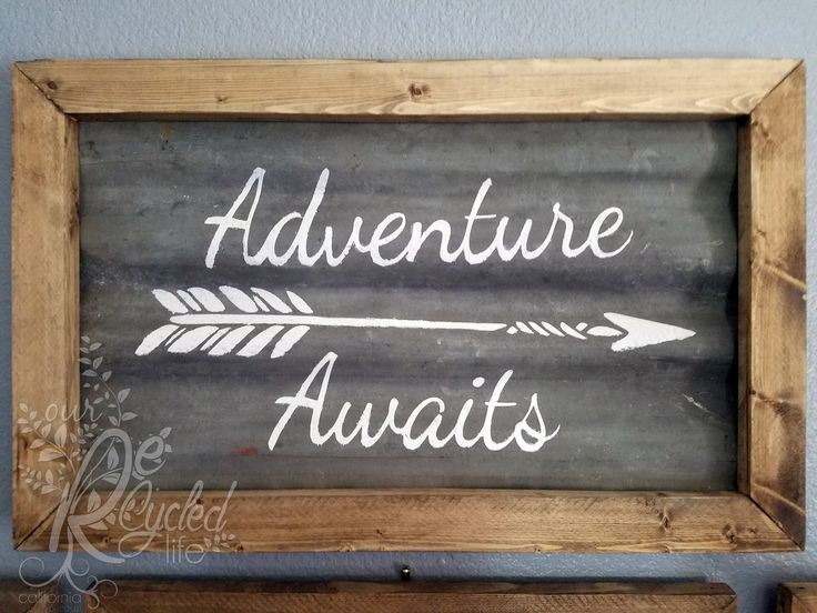 "Reclaimed wood and corrugated metal sign ""Adventure Awaits"" by Our Recycled Life"