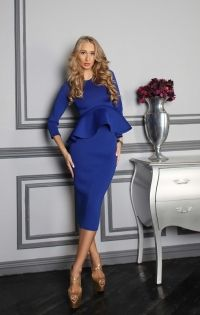 Комбинация топа и юбки с баской синего цвета