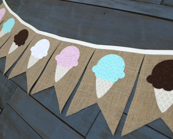 Ice Cream Social Burlap Banner for Summer First Birthday Dessert Table Decoration by MsRogersNeighborhood