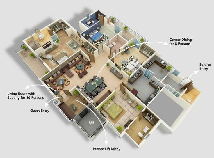 382 best house plan 3D images on Pinterest House template, Bedroom - faire une maison en 3d