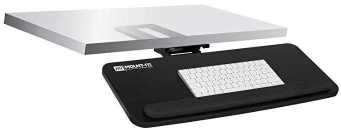Amazon Com Mount It Adjustable Under Desk Keyboard Tray Ergonomic Computer Keyboard And Mouse Platform With Wrist Rest Pad Keyb Wrist Rest Keyboard Swivel