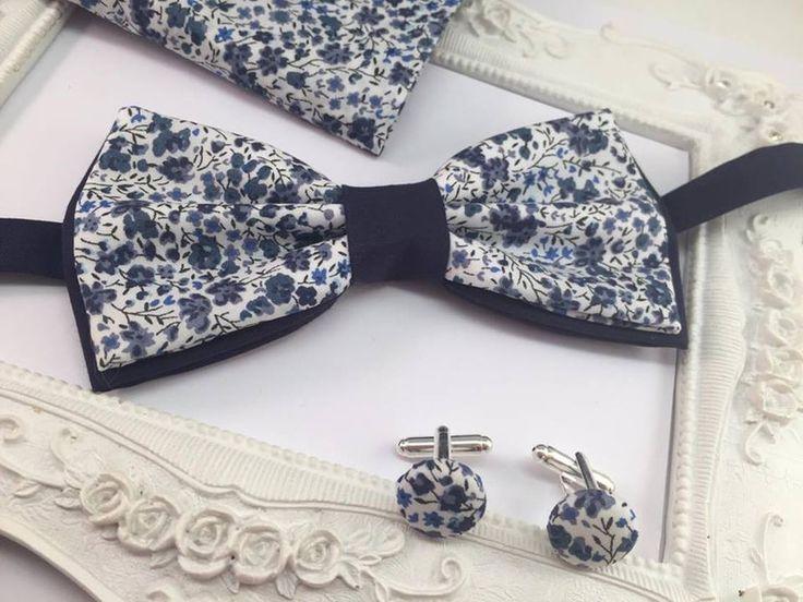 Noeuds papillon, Set Noeud Papillon, Boutons et Pochette costume est une création orginale de FleursdeProvence sur DaWanda